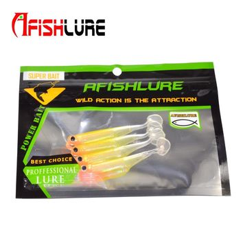4pcs/lot Afishlure Telescopic Fish  2.4g 78mm 3D Rainbow Fish Fake Artificial Bait  T Tail Soft Fish  Swimbaits Plastic Isca