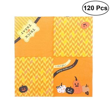 120PCS Pumpkin Pattern Halloween Creative Cute Paper Napkin Tissue Party Decor Party Supplies for Party Halloween Gifts