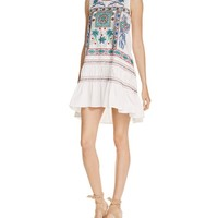 FREEWAY Embroidered Ruffle Trapeze Dress | Bloomingdales's