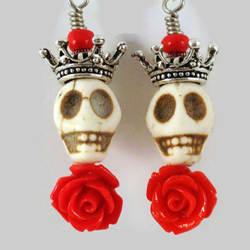 Howlite Skull Earrings with Red Roses and Crowns - Skull and Rose Earrings - Punk Rock - Horror Jewelry - Day of the Dead - Gothic Jewelry