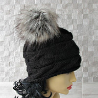 Parisian style, Winter Hat Kniited Beanie Hat, Knit Hat for Women Knit Hats Women, Black Knitted Hat Large Fur Pom Pom