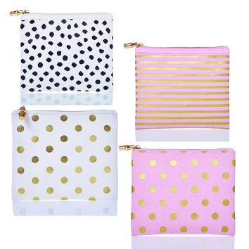 Flat Zip Printed Canvas Bags