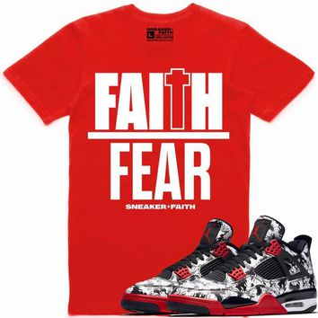 FAITH OVER FEAR Sneaker Tees Shirt Match - Jordan 4 Tattoo