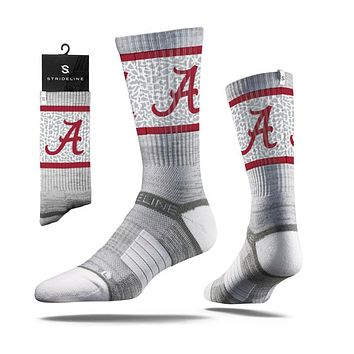 Strideline 2.0 Alabama Big Al Crimson Tide Grey Collegiate Crew Socks