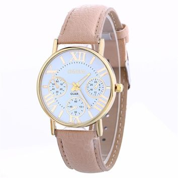 Watch Women 2017 Fashion Watches Casual Quartz Watches Clock Female Casual PU Leather Women's Wristwatches montre femme #825