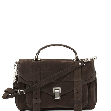 PS1 Medium Suede Satchel Bag, Pepe - Proenza Schouler