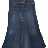 Custom Long Denim Skirt upcycled from Jeans, Custom order your size and desired length, Maternity option too