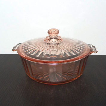 Vintage Art Deco Pink Glass Ribbed Covered Dish - Depression Era Glass