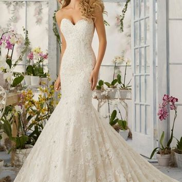 Mori Lee 2820 Strapless Sweetheart Neckline Lace Fit & Flare Wedding Dress