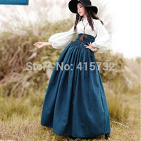 New Vintage High Waist Long Maxi A-line Plus Size Royal Design Women Winter Suede Bandage Skirts With Big Hem
