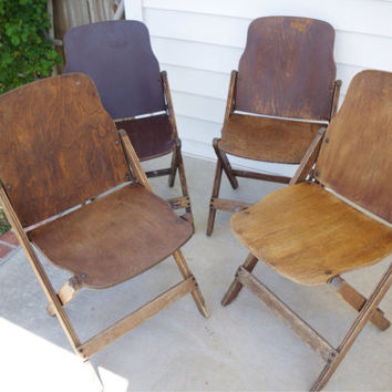 Vintage Folding Wooden Chairs Set Of Four American Seating Co Grand