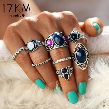 17KM 8PCS/Set Vintage Tibetan Turkish Mix Midi Ring Sets 2017 Unisex Anillos Mujer Knuckle Power Crystal Rings for Women Man