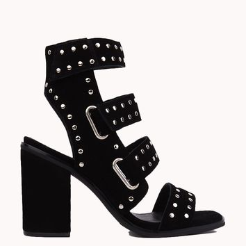 Stacked Heels | Suede Shoes | Studded Heels - AKIRA