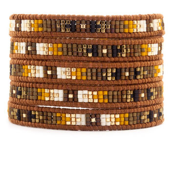 Brown Mix Wrap Bracelet on Natural Brown Leather - Chan Luu