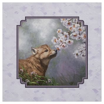 Wolf Pup and Flowers Fabric
