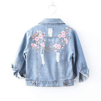 Baby Denim Jackets for Girl Female Long-Sleeved Embroidered Denim Coat Clothing Spring Autumn Fashion 2-8Y Children Jacket New
