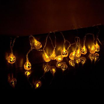 20LED Halloween Warm White Pumpkin String Lights 2Meter Battery Operated For Christmas Party holiday Garden Decoration Lights