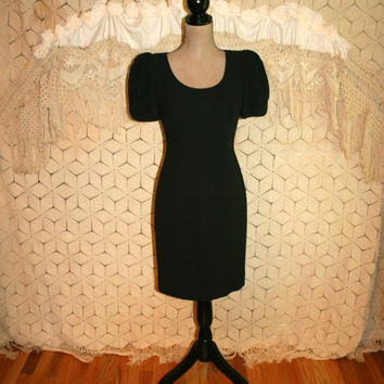 Black Cocktail Dress Big Puff Sleeves Black Sheath Black Crepe Midi Dress Short Sleeve Black Dress Donna Morgan Size 4 Small Womens Clothing