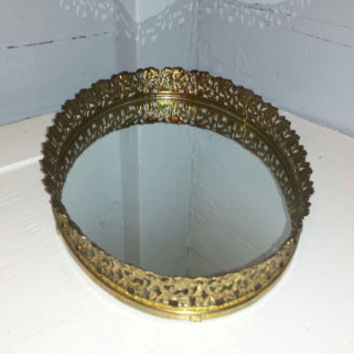 Vintage, Oval, Mirrored Tray, Mirror, Tray, Vanity Mirror