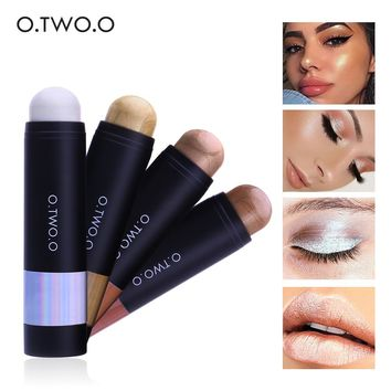 O.TWO.O 4 Colors Highlighter Stick High Pigment Face Brighten Shimmer Stick Cosmetics Base Makeup Long Lasting
