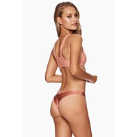 Chrissy Micro Tango Thong Bikini Bottom - Whiskey Rose Pink