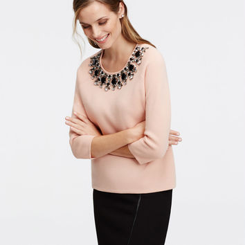 Embellished Neck Sweater | Ann Taylor