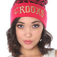 Crooks and Castles Cap No Love 5-Panel in Pink Black Cheetah