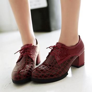 Fashion Vintage Lace Up Ol Pumps Women