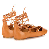 Ochre Lace Up Ballet Flat Shoes