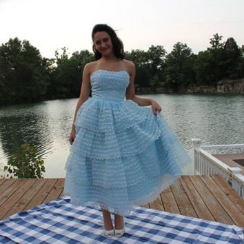 50s Strapless Party Prom Dress Ruffled Tiered Tea Length Baby Blue Eyelet Lace Vintage 1950s Small S