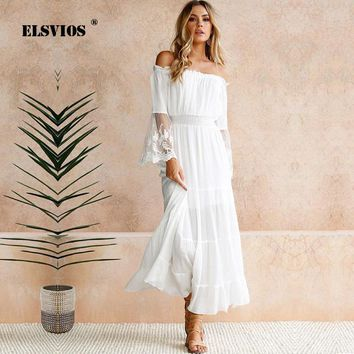 ELSVIOS Sexy Off The Shoulder Crochet Lace White Sundress Women Patchwork Flare Sleeve Beach Long Dress Ladies Boho Maxi Dresses