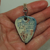 I wished for you Dandelion stamped clay Pick pendant red blue Aromatherapy pendant