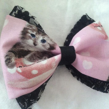 Kawaii Lolita Cat Pink and Black Hair Bow
