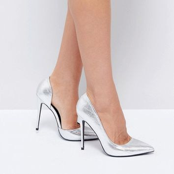 Public Desire Margi Silver Heeled Shoes at asos.com