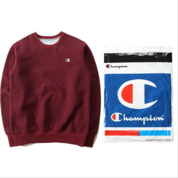 Champion sweater plus velvet embroidery logo based models Lining cloth shirt Red