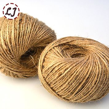 100 pieceswidth 2mm Shabby Chic Natural Jute Twine Rustic String Cords Hemp rope Wrap Craft Making Decor Rope