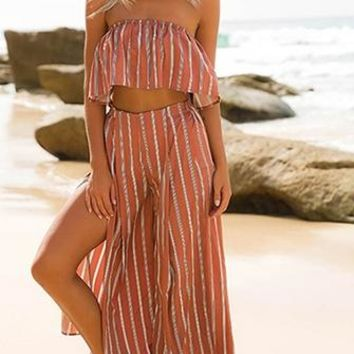 Echo Chamber Orange Vertical Stripe Strapless Crop Top Side Slit Wide Leg Palazzo Pants Two Piece Jumpsuit Pattern