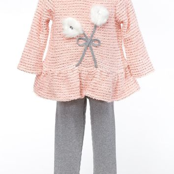 CachCach Girl's Set with Peach Top and Gray Ribbed leggings.