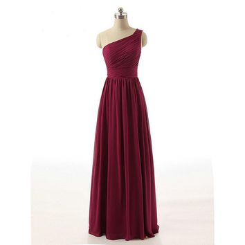 Real Samples Burgundy Bridesmaid Dress One Shoulder Chiffon Draped Long Party Dress Plus Size Beautiful Bridemaids Dresses 2016