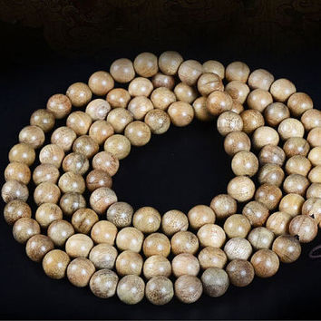 Wholesale 50X 1 strands(108pc 8mm) Natural Phoebe bournei / Silkwood Mala Beads Rift Grain Mala Necklace TS001