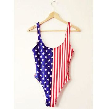 VONEHL5 Cute Blue Red Stripe Flag One Piece Bikinis Swimwear Bathsuit