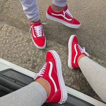 vans classics old skool red sneaker