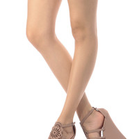 Blush Faux Suede Laser Cut Wedges