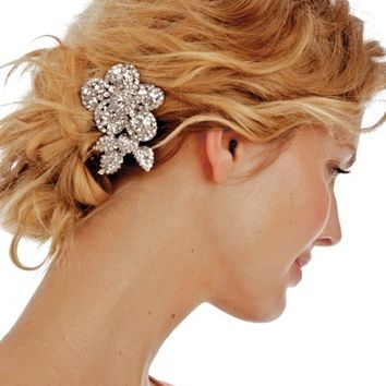 ROSE- Rhinestone Encrusted Flower Clip