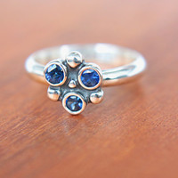 Natural Blue Sapphire Ring Sterling Silver Sapphire Gem Ring Natural Blue Sapphire Ring Engagement Size 6-7 Promise Ring