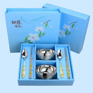 6 pcs/set Chinese Style Stainless Steel Tableware Anti Scald Dinner Set Home Craft Gift FA