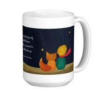 The Little Prince and Fox Looking at Starry Night Coffee Mug from Zazzle.com