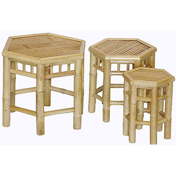 Set of 3 Nesting Hexagon Bamboo Tables (Vietnam) | Overstock.com Shopping - The Best Deals on Coffee, Sofa & End Tables