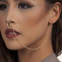 ac DCCKO2Q Fake Nose septum Ring 316L Stainless Steel Titanium clicker Nose Stud Piercing Jewelry Hoop rings nose earrings chain