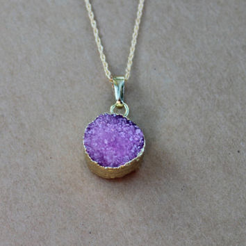 Pink Druzy Necklace, Pink Geode Necklace, Boho Chic Necklace, Bohemian Jewelry